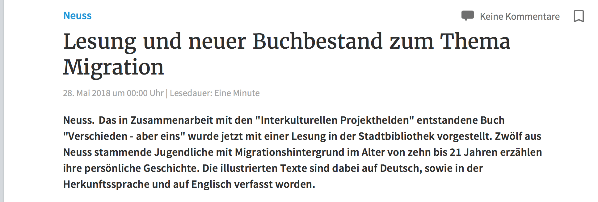 Lesung und neuer Buchbestand zum Thema Migration